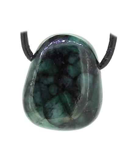 budawi® - Smaragd Trommelstein Anhänger Kettenanhänger mit Lederband