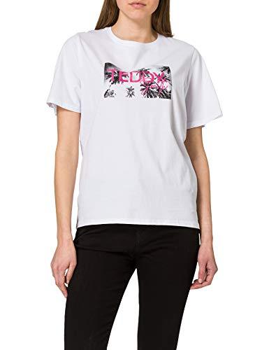 Teddy Smith T- Palmy MC T-Shirt, Blanc, S Womens
