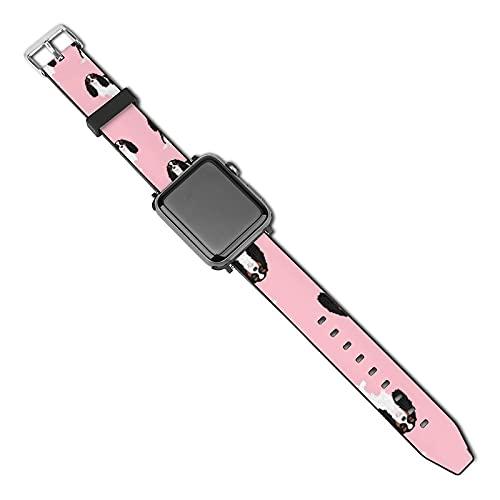 La última correa de reloj compatible con Apple Watch Band 38 mm 40 mm Correa de repuesto para iWatch Series 5/4/3/2/1, Cavalier King Charles Spaniel Tricolored Simple Pink