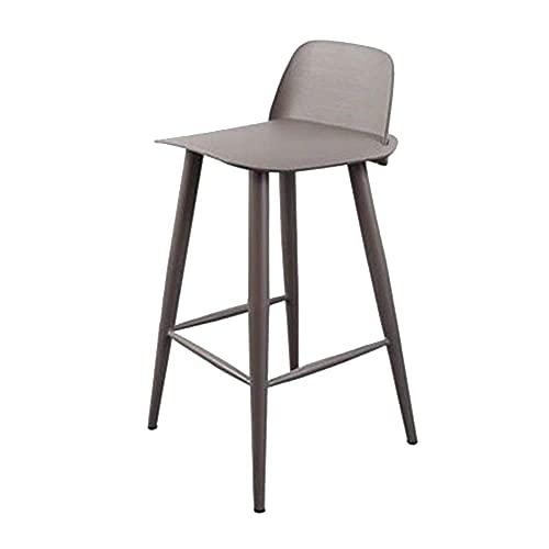 WBDZ Barhocker Küche Restaurant Bar Stuhl mit Fußstütze Metall Barhocker Eingebettete Kunststoff Rückenlehne Eisen Hochstuhl für Bistro Coffee Shop (Farbe: Grau)