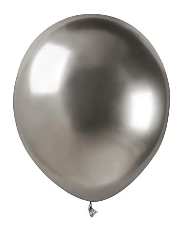 Ciao Busta 100 palloncini metallizzati in lattice naturale Premium Quality A50 (Ø 13cm / 5'), argento metallizzato