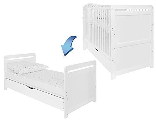 iGlobal Lit bébé 2 en 1 - Lit à barreaux avec matelas - Hauteur réglable - Convertible en lit junior - Tiroir sous lit 120 x 60 cm