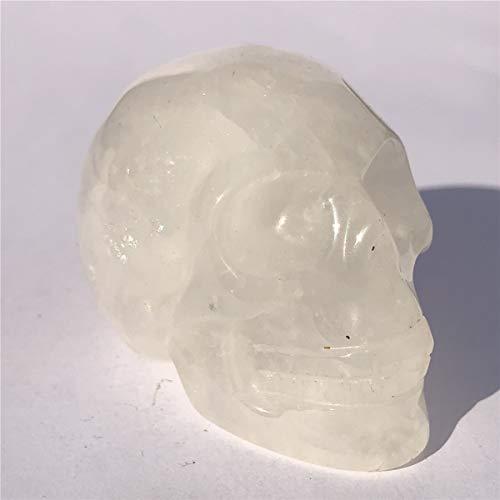 "Anlingem 1pc 2"" Crystal Skull Natural Quartz Skull Gemstone Carved Skull Stone Pocket Statue Healing Energy Reiki Gemstone Collectible Figurine (Clear Quartz Skull) AL-CQS"