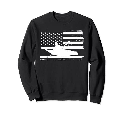 Gran Kayak Americano Bandera Kayak Kayak Kayak Sudadera