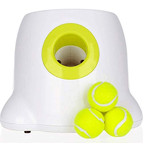 yacn Creative Dog Pet Toys Tennis Launcher Automatic Throwing Machine Pet Ball Thrower 3/6/9m Section Ession with 3 Balls
