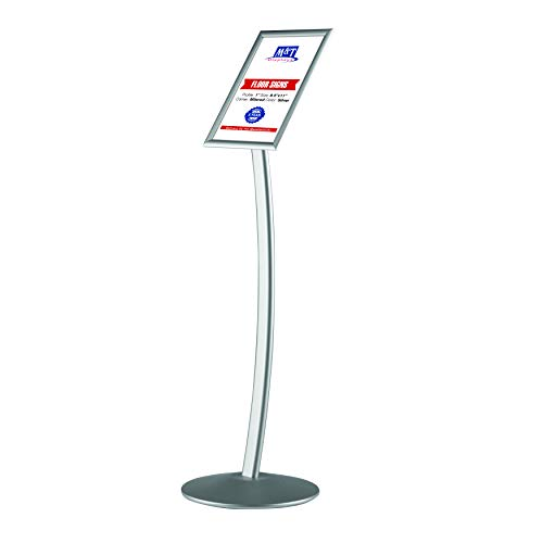 M&T Displays Curved Sign Holder, Floor Stand with Aluminum Snap Frame, Front Loading, Easy Open, Poster, Sign, Menu Holder, Advertising Display (Silver, 8.5x11)