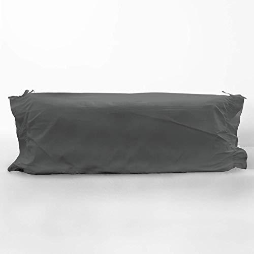 Pizuna 400 Hilos Funda de Almohada cilíndrica Gris Oscuro, para cojín de 105cm, 100% algodón Tejido de satén Suave y Transpirable, (Cama 105 cm, 45 x 130 cm)