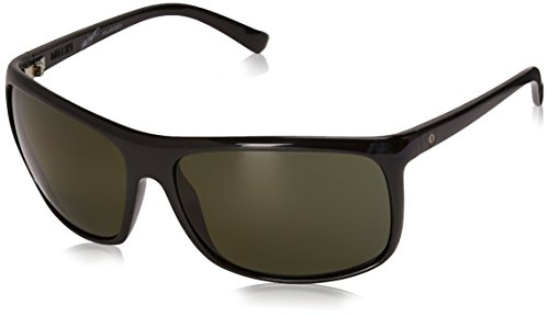 Electric Outline Polarized Wrap Sunglasses, Gloss Black, 64 mm