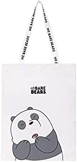 We Bare Bears Canvas Tote Bags | Strong Canvas for Shopping, Books, Gifts