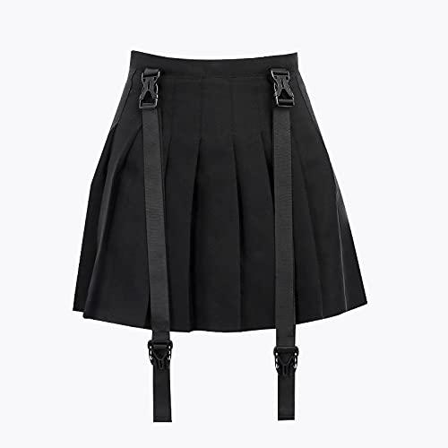 Falda Plisada Harajuku Verde A Cuadros Mujeres Punk Goth Preppy Cintura Alta con Cadena Mini Streetwear Coreano Plisado Niñas S Blackskirt