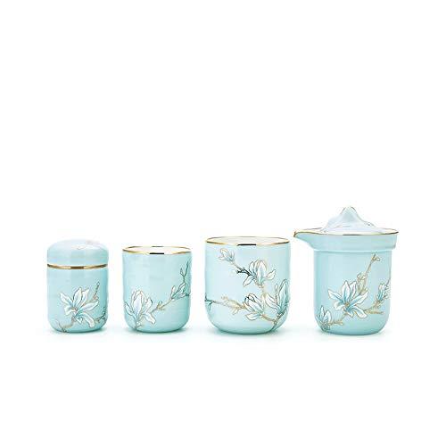 JISHIYU -Q - Juego de tazas de cerámica para tetera Kungfu, juego de té para el hogar, 4 juegos, adecuado para té a granel o té de las señoras