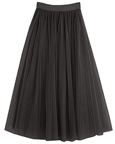PauMaria Women's Midi Tulle Skirt Elastic Waist 3 Layered Mesh Formal Prom Party Tutu Skirt A Line(L,Black)