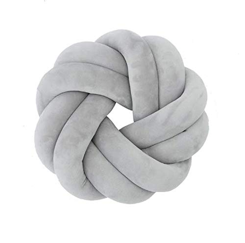 Knot Ball Pillow - GOODCHANCEUK Knot Ball Cushion Handmade Baby Nap Pillow Plush Toy Decorative Throw Pillow for Bedroom Sofa Car Office Travel Dia.30 Gray