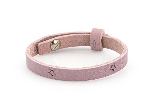 Lederarmband - rosa mit Sternen, 23cm, Schmuck-Armband für Schiebeperlen