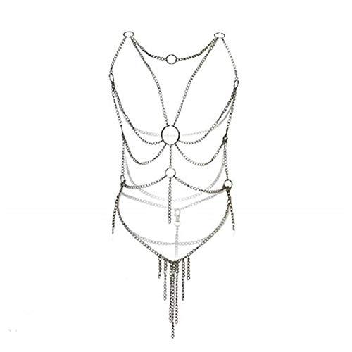 Damen Kreuz Körper Gliederkette Weihnachten Dessous Kette Set Silber