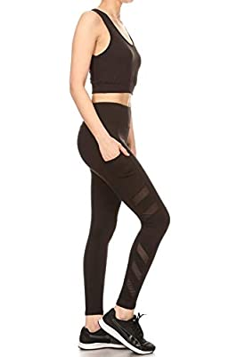 ShoSho Womens 2 Piece Activewear Sets Sports Tops and Yoga Bottoms Casual Outfits Side Pockets Mesh Leggings & Crop Tank Top Solid Black Small