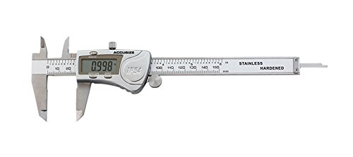 Accusize Industrial Tools Digital Caliper, 0-6''/0-150 mm Range by 0.0005''/0.01 mm Resolution, Large LCD, Ip54 Water Resistant, 2015-0150