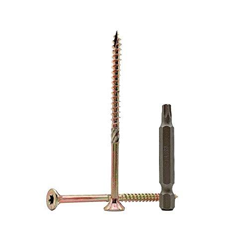 Lote de 30 tornillos de madera de acero chapado en zinc amarillo 6,0 x 90 mm, cabeza torx, tipo 17, cabeza avellanada, tornillos de aglomerado (30, 6,0 x 90 mm)