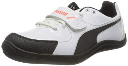 PUMA Evospeed Throw 6, Zapatillas de Atletismo Unisex Adulto, Blanco White Black-Lava Blast, 44.5 EU