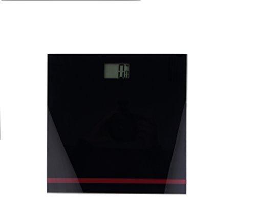 Bilancia pesapersone digitale, peso fino a 150 kg, in vetro (spegnimento automatico, bilancia digitale, passi da 100 g, nero)