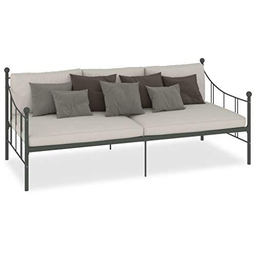 GOTOTOP - Cama con marco de cama de metal para sofá o cama con vigas de soporte medianas, apta para dormitorio y salón, 208 x 95 x 83 cm, color gris