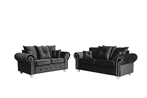 HHI Dark Grey Plush Fabric sofas 3 seater and 2 seater Sofa sets For Living Room (3+2 seater sofa)