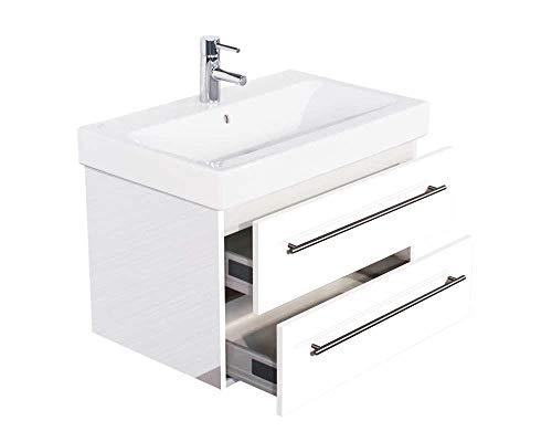 Posseik KERAMAG Waschtisch Waschbecken Badmöbel Unterschrank Icon B: 75cm Hochglanz Weiß