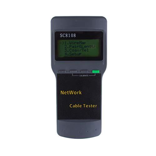 Medidor Probador de Cables, ALLOMN SC8108 Portátil RJ45 Longitud de red LAN Medidor Probador de Cables Probador de Teléfono Teléfono Cable Probador Medidor