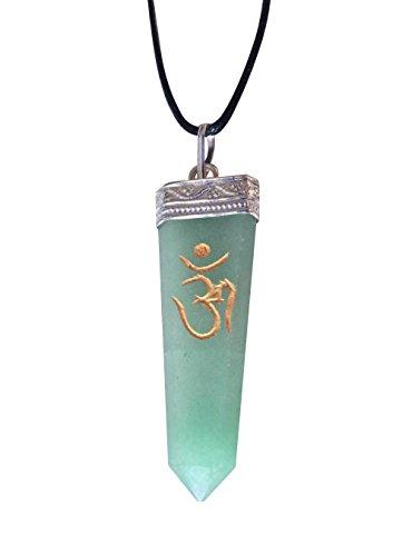 Green Aventurine Gold Om Engraved Crystal Healing Pendant Necklace