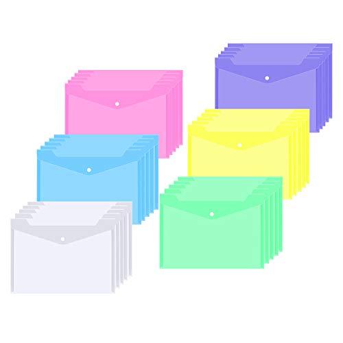 Dokumententaschen A4, 30X Klarsichthülle a4 Dokumentenmappe Sichttaschen Brieftaschen Tasche mit druckknopf für Dokument Organisieren, 6 Farben