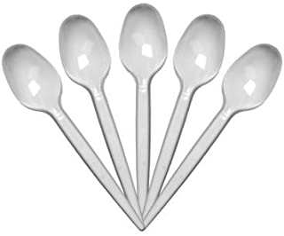 Reuseable Party Cafe Takeaway Cutlery Tableware 100 Strong White Plastic Disposable Teaspoons Small Spoons
