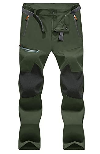 MAGCOMSEN Wanderhose Herren Outdoor Sommerhose Quick Dry Leicht Softshellhose Männer Funktionshose Tactical Jagdhosen Wasserdicht mit Zip Taschen Armeegrün 38