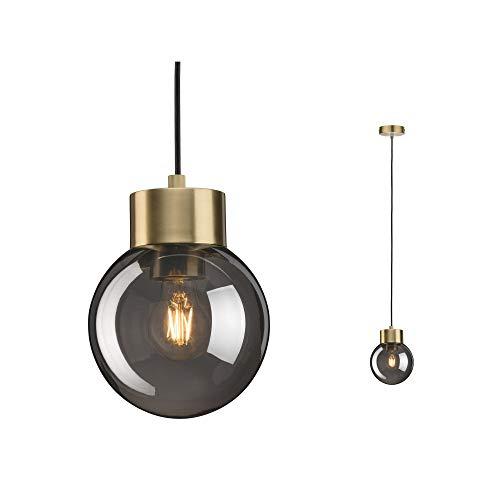 Paulmann 79743 Neordic Linja hanglamp max. 1x20W hanglamp voor E27 lampen plafondlamp rookglas/messing geborsteld 230V zonder lamp, spiegel