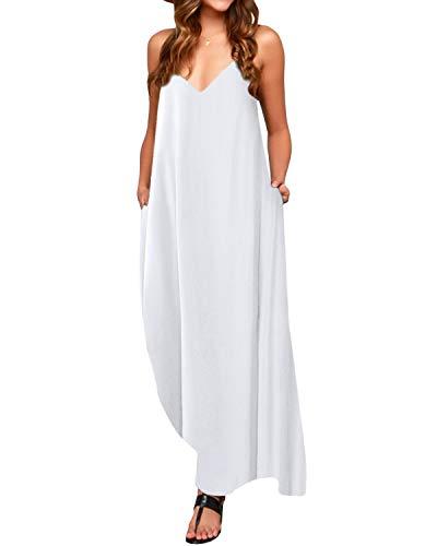 ACHIOOWA Sommerkleid Damen V-Ausschnitt Sexy Maxikleid Ärmellos Lang Dress Oversize Freizeit Strandkleid Weiß-803255 2XL
