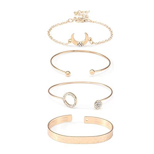 Belasa Boho Moon Bracelet Set de pulseras de cristal dorado Pulseras circulares Accesorios de mano abierta Joyas ajustables para mujeres y niñas