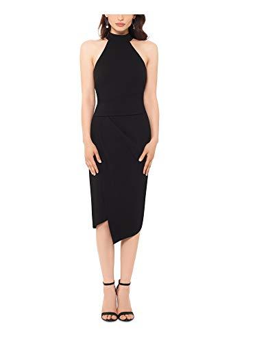 Betsy & Adam Womens Black Sleeveless Halter Midi Body Con Cocktail Dress...