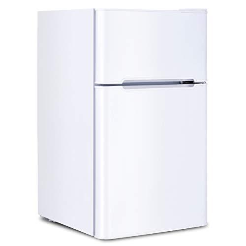 TANGKULA 90L Refrigerador Compacto con Congelador Pequeño 51x44x86cm -15℃~ +10℃ para Apartamento (Blanco)