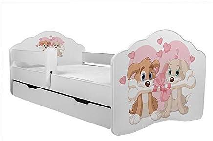 con Materasso e cassetto KOBI Lettino per Bambini con Orso e Miele 160 x 80 cm