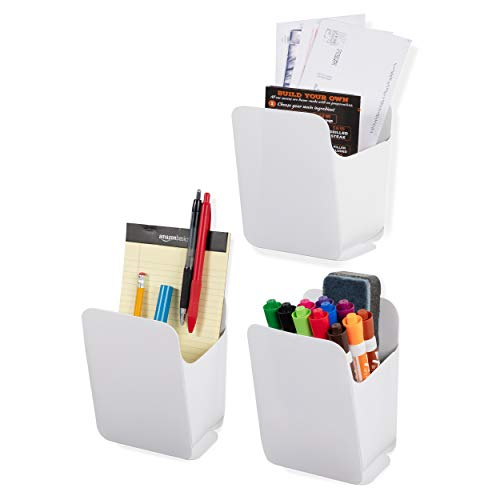 Wallniture Origami Dry Erase Marker Pen Pencil Holder and Office Organizer, Recycled Plastic, White, Set of 3, Assembly Required