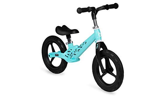 MOMI Bicicleta infantil ULTI para niños de 2 a 6 años, ruedas de goma a prueba de pinchazos, marco de aleación de magnesio ligera, altura del sillín y altura del manillar, peso 3 kg, color turquesa