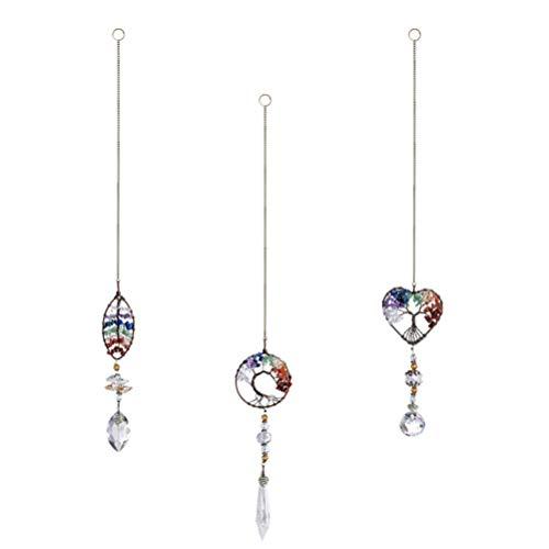 YARNOW 3 Stück Hängende Kristallanhänger Klare Kristalltropfen Prismenverzierungen für Fenster Vorhang Tür Hochzeitsdekor