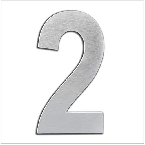 HERRAJES EVI Numero de Casa Exterior, Portal o Garaje, 16 cm , Acero Inoxidable AISI 304, Instalación Adhesiva (Numero 2), 160mm
