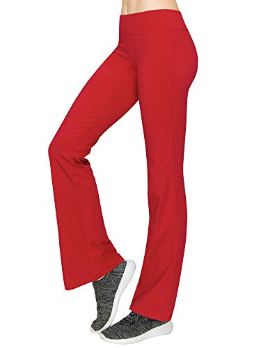 WB961 Womens Slim-Fit Bootleg Yoga Pants L RED