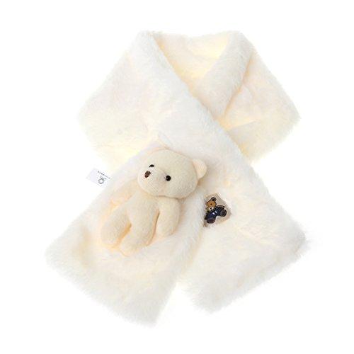 Viccoo kindersjaal, modieus imitatiebont kindersjaals schattige bear warme winter zachte sjaal wrap voor kinderen - wit