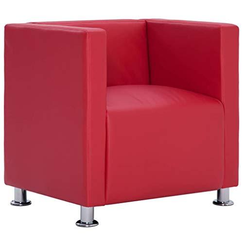 vidaXL Sillón Forma Cubo Cuadrado Piel Sintética Diseño Moderno Elegante Butaca Cuero Artificial Vintage Estilo Le Corbusier Patas Cromadas Rojo