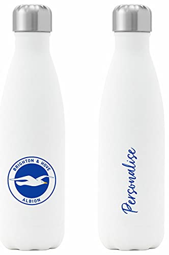 Personalised Compatible With Brighton & Hove Albion FC Crest Insulated Water Bottle - White