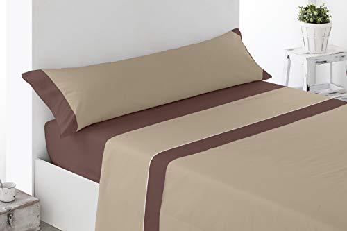 Cabetex Home - Juego de sábanas Lisas - Colores Combinados - 3 Piezas - Microfibra Transpirable (Chocolate/Beige, 105_x_190/200 cm)