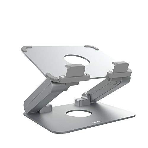 Kavalan Aluminum Tablet Stand, Ergonomic Foldable Height Adjustable Tablet Riser for Desk, Compatible with Apple iPad Series, Samsung Pad, Microsoft Pad and All Tablets Laptop Cell Phone (Silver)