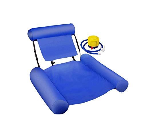 'N/A' Hamaca Inflable para Piscina con Fila Flotante, sillón de Ocio acuático, sillón portátil de Entretenimiento acuático, Cama Flotante con Bomba de Aire(Color:Azul)