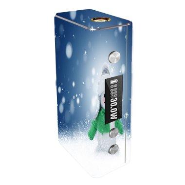 Cloupor Cana Mini 30W Vape E-Cig Mod Box Vinyl DECAL STICKER Skin Wrap / snowman Xmas Winter Snow Stars Printed Design